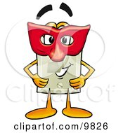Clipart Picture Of A Light Switch Mascot Cartoon Character Wearing A Red Mask Over His Face by Toons4Biz