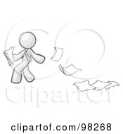 Royalty Free RF Clipart Illustration Of A Sketched Design Mascot Man Dropping White Sheets Of Paper On A Ground And Leaving A Paper Trail