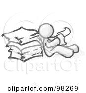 Royalty Free RF Clipart Illustration Of A Sketched Design Mascot Man Seated On The Floor Reading Papers And Leaning Against A Stack Of Papers