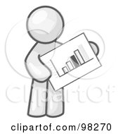 Royalty Free RF Clipart Illustration Of A Sketched Design Mascot Man Holding A Bar Graph Displaying An Increase In Profit