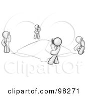 Royalty Free RF Clipart Illustration Of Sketched Design Mascots Talking On Cell Phones Around A Square That Looks Similar To A Baseball Diamond