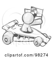 Royalty Free RF Clipart Illustration Of A Sketched Design Mascot Man Driving A Fast Race Car Past Flags While Racing