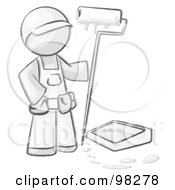 Royalty Free RF Clipart Illustration Of A Sketched Design Mascot Man Painter With A Paint Pan And Roller
