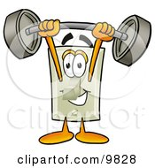 Light Switch Mascot Cartoon Character Holding A Heavy Barbell Above His Head