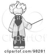 Royalty Free RF Clipart Illustration Of A Sketched Design Mascot Man Depicted As Albert Einstein Holding A Pointer Stick