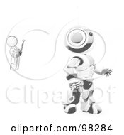 Royalty Free RF Clipart Illustration Of A Sketched Design Mascot Man Inventor Operating An Blue Robot With A Remote Control