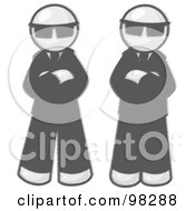 Royalty Free RF Clipart Illustration Of Sketched Design Mascot Men In Sunglasses And Black Suits Standing With Their Arms Crossed by Leo Blanchette