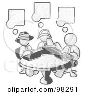 Royalty Free RF Clipart Illustration Of A Sketched Design Mascot Men Sitting At A Circular Table Using Laptops In An Internet Cafe