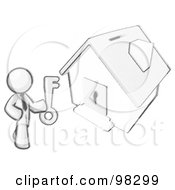 Royalty Free RF Clipart Illustration Of A Sketched Design Mascot Businessman Holding A Skeleton Key And Standing In Front Of A House With A Coin Slot And Keyhole