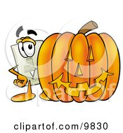 Clipart Picture Of A Light Switch Mascot Cartoon Character With A Carved Halloween Pumpkin by Toons4Biz