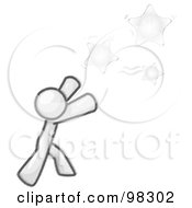 Royalty Free RF Clipart Illustration Of A Sketched Design Mascot Man Character Reaching For Yellow Stars In The Sky