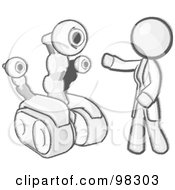 Royalty Free RF Clipart Illustration Of A Sketched Design Mascot Man Inventor With A Rover Robot