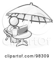 Sketched Design Mascot Businessman Sitting At A Table Under An Umbrella Drinking A Beverage And Using A Laptop Compute