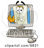 Light Switch Mascot Cartoon Character Waving From Inside A Computer Screen