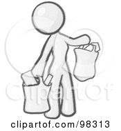Royalty Free RF Clipart Illustration Of A Sketched Design Mascot Woman Carrying Paper Grocery Bags by Leo Blanchette
