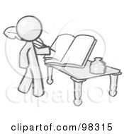 Royalty Free RF Clipart Illustration Of A Sketched Design Mascot Man Author Writing History On Blank Pages Of A Book