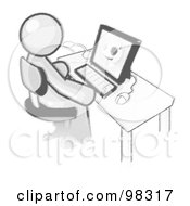 Royalty Free RF Clipart Illustration Of A Sketched Design Mascot Doctor Man Sitting At A Computer And Viewing An Xray Of A Head