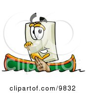 Clipart Picture Of A Light Switch Mascot Cartoon Character Rowing A Boat by Toons4Biz