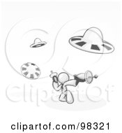 Royalty Free RF Clipart Illustration Of A Sketched Design Mascot Man Fighting Off Ufos With Weapons by Leo Blanchette