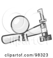Royalty Free RF Clipart Illustration Of A Sketched Design Mascot Business Man Holding Up A First Place Trophy