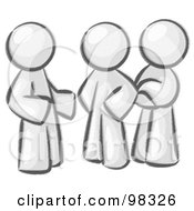 Royalty Free RF Clipart Illustration Of Sketched Design Mascot Men Talking At The Office