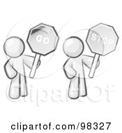 Royalty Free RF Clipart Illustration Of A Sketched Design Mascot Holding Stop And Go Signs by Leo Blanchette