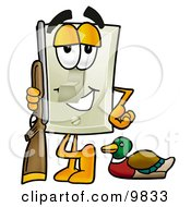 Clipart Picture Of A Light Switch Mascot Cartoon Character Duck Hunting Standing With A Rifle And Duck by Toons4Biz