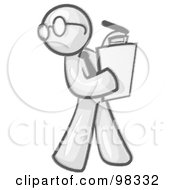 Royalty Free RF Clipart Illustration Of A Sketched Design Mascot Man Character Wearing Glasses And Holding A Clipboard While Reviewing Employees