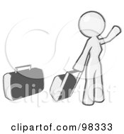 Royalty Free RF Clipart Illustration Of A Sketched Design Mascot Woman With Luggage Waving For A Taxi