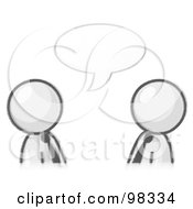 Royalty Free RF Clipart Illustration Of Sketched Design Mascot Businessmen Having A Conversation With A Text Bubble