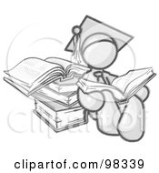 Sketched Design Mascot Male Student In A Graduation Cap With A Tassel Seated And Leaning Against Books Reading An Open Encyclopedia