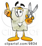 Clipart Picture Of A Light Switch Mascot Cartoon Character Holding A Pair Of Scissors by Toons4Biz