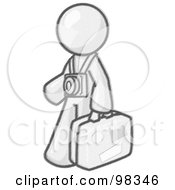 Royalty Free RF Clipart Illustration Of A Sketched Design Mascot Male Tourist Carrying His Suitcase And Walking With A Camera Around His Neck