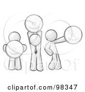 Royalty Free RF Clipart Illustration Of Sketched Design Mascot Men Holding Targets In Different Positions