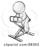 Royalty Free RF Clipart Illustration Of A Sketched Design Mascot Man Exercising On A Stationary Bicycle