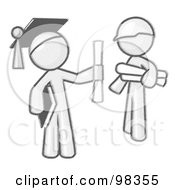Royalty Free RF Clipart Illustration Of A Sketched Design Mascot Man Graduate And Orange Man Contractor