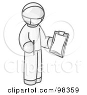 Royalty Free RF Clipart Illustration Of A Sketched Design Mascot Surgeon Man In Scrubs Holding A Clipboard And Pen