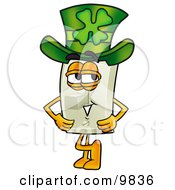 Clipart Picture Of A Light Switch Mascot Cartoon Character Wearing A Saint Patricks Day Hat With A Clover On It