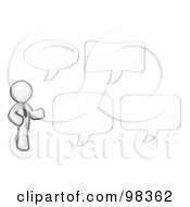 Royalty Free RF Clipart Illustration Of A Sketched Design Mascot Businessman With Four Different Word Bubbles