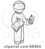 Royalty Free RF Clipart Illustration Of A Sketched Design Mascot Surgeon Man In Scrubs Holding A Clipboard And A Wireless Cell Phone
