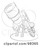 Royalty Free RF Clipart Illustration Of A Sketched Design Mascot Man Looking Through A Huge Telescope Up At The Stars In The Night Sky