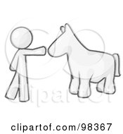 Royalty Free RF Clipart Illustration Of A Sketched Design Mascot Man Petting A Blue Horse