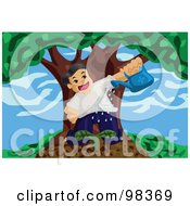 Royalty Free RF Clipart Illustration Of A Little Boy Watering A Seedling Plant by mayawizard101