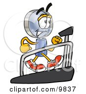 Clipart Picture Of A Magnifying Glass Mascot Cartoon Character Walking On A Treadmill In A Fitness Gym by Toons4Biz