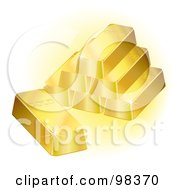 Pyramid Of 3d Gold Ingot Bars Sparkling