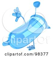 Royalty Free RF Clipart Illustration Of A 3d Blue Condom Character Doing A Hand Stand