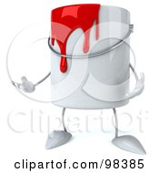 3d Red Paint Can Character Gesturing
