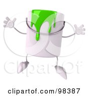 3d Green Paint Can Character Jumping