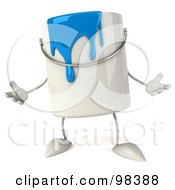 3d Blue Paint Can Character Gesturing