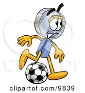 Clipart Picture Of A Magnifying Glass Mascot Cartoon Character Kicking A Soccer Ball by Toons4Biz
